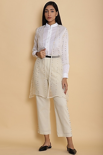 Ivory Jacket With Embroidered Dots by Abraham & Thakore
