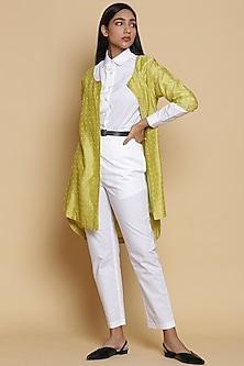Lemon Yellow Embroidered Shirt by Abraham & Thakore