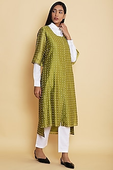 Green Star Embroidered Shirt by Abraham & Thakore