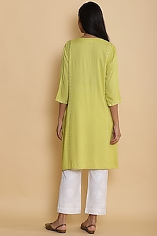 Yellow Kurta With Embroidered Dots by Abraham & Thakore
