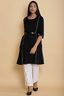 Black Kurta With Embroidered Dots by Abraham & Thakore