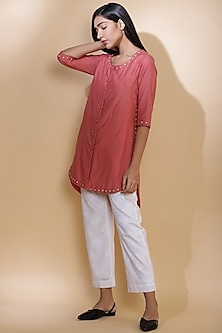 Rose Pink Embroidered Shirt by Abraham & Thakore
