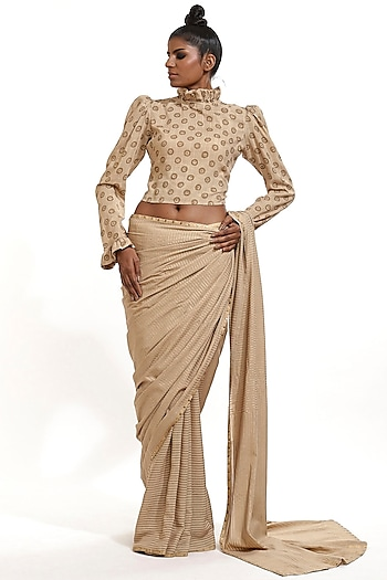Beige Hand Block Printed Top by Abraham & Thakore