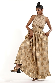Beige Printed Top With Frills by Abraham & Thakore-ABRAHAM & THAKORE