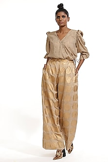 Beige Block Printed Top With Frills by Abraham & Thakore-ABRAHAM & THAKORE