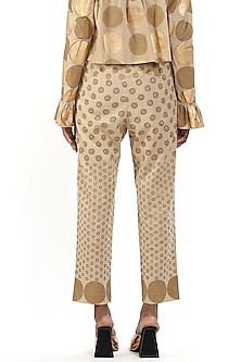 Beige Printed Cotton Pants by Abraham & Thakore