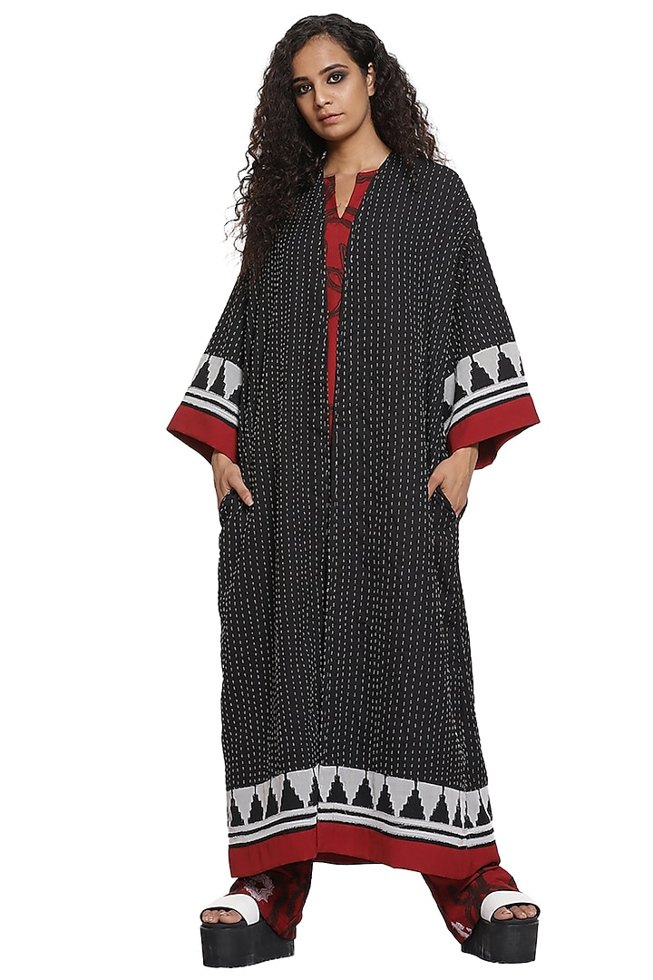 Black Hand Embroidered Long Jacket Set by Abraham & Thakore