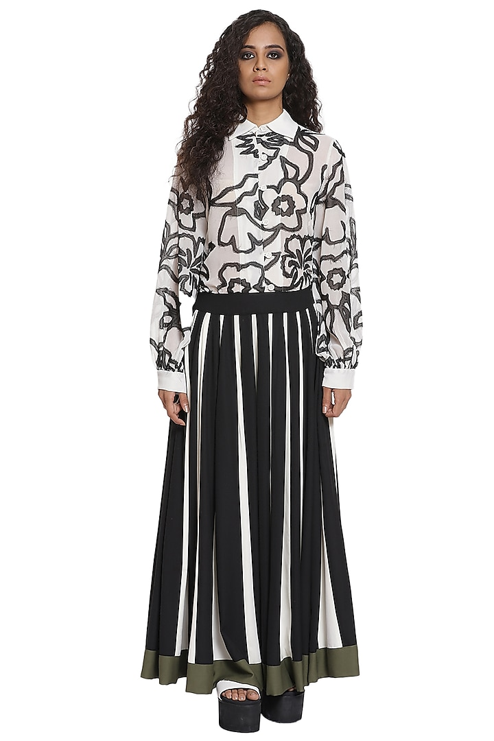 Ivory & Black Crepe Skirt by Abraham & Thakore