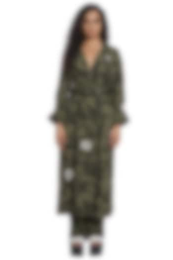 Sea Grass Trench Coat With Pants by Abraham & Thakore