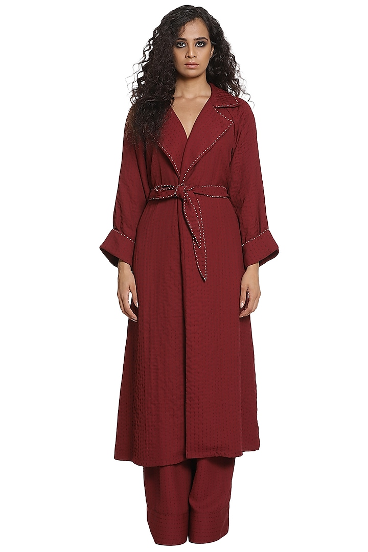 Wine Trench Coat With Pants by Abraham & Thakore
