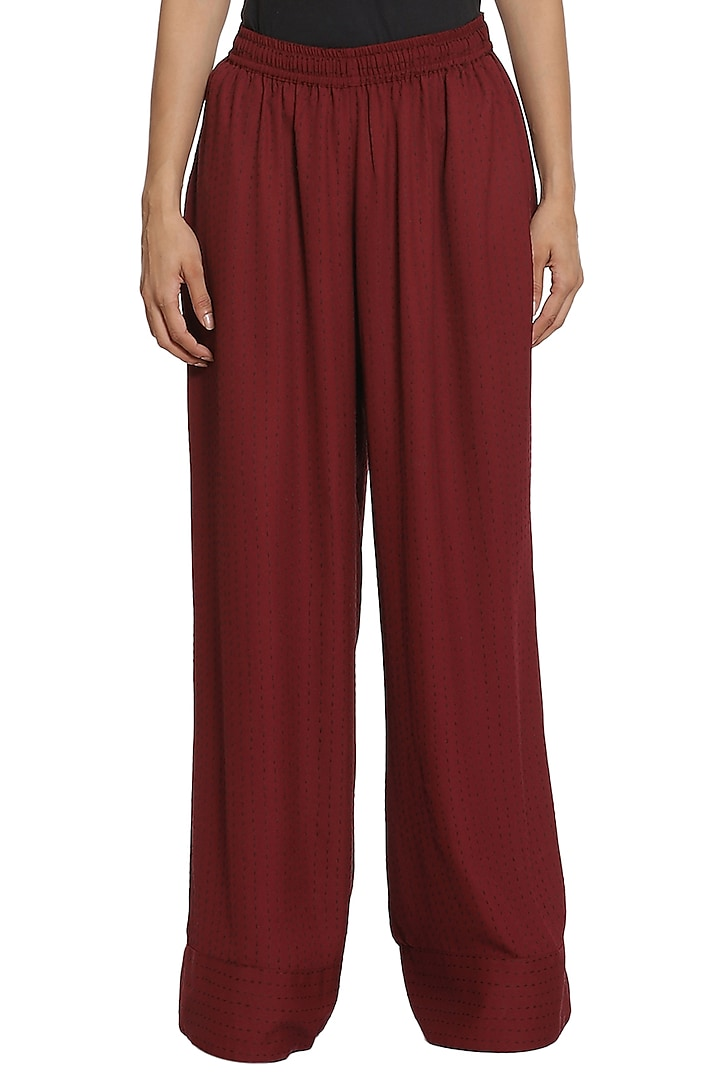 Wine Hand Embroidered Layered Pant Set by Abraham & Thakore