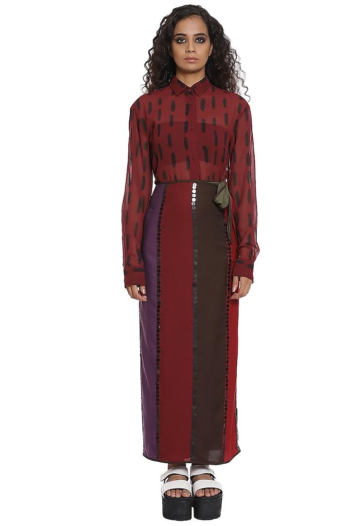 Burgundy Striped Wrap Skirt Set by Abraham & Thakore
