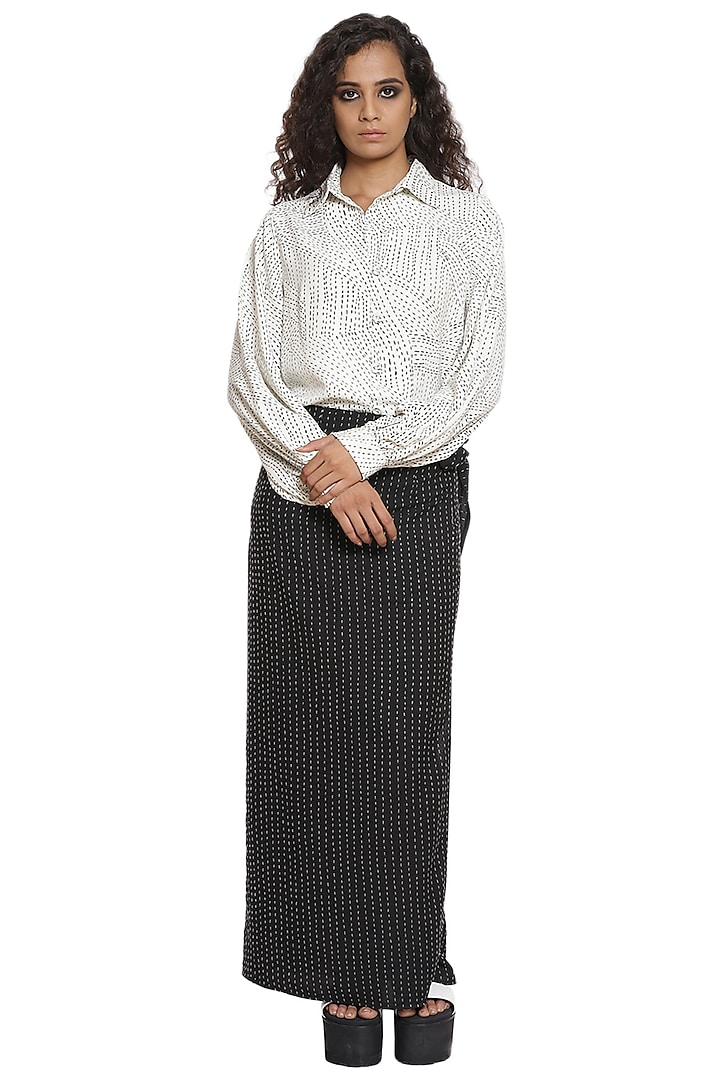 White & Black Crepe Skirt Set by Abraham & Thakore