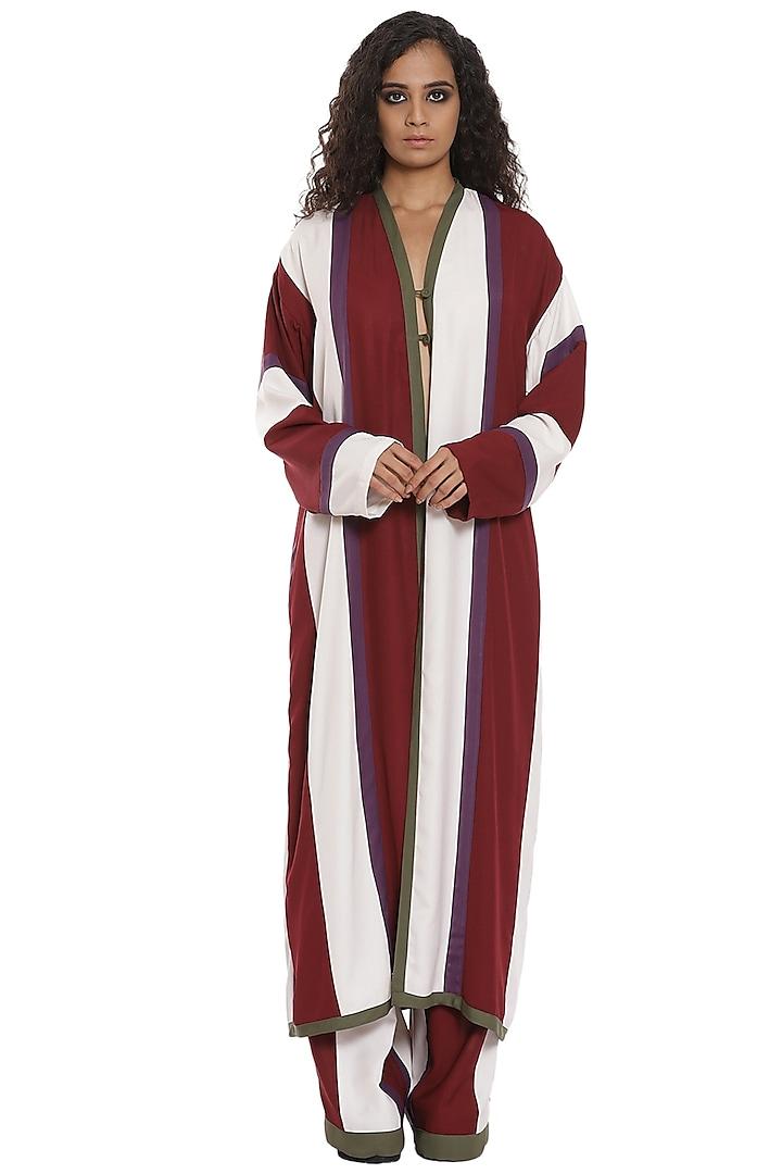 Burgundy & White Kimono Jacket Set by Abraham & Thakore