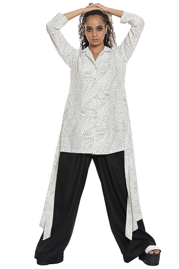 Ivory & Black Suiting Pant Set by Abraham & Thakore