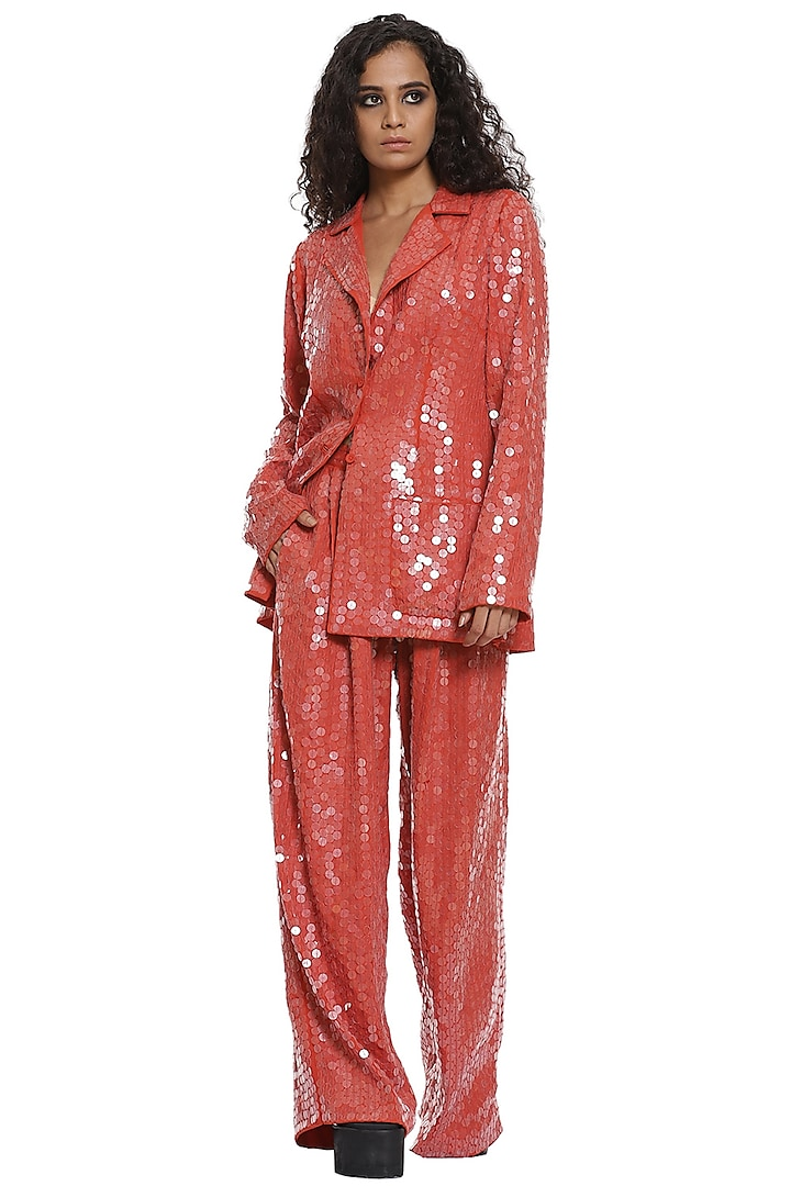 Pastel Red Sequined Wide-Legged Pant Set by Abraham & Thakore