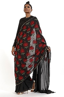 Black Floral Embroidered Saree by Abraham & Thakore