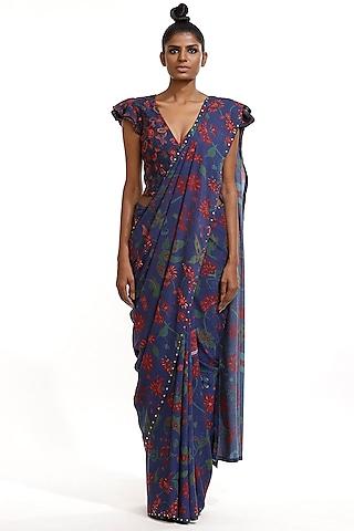 Marine Blue Printed Saree by Abraham & Thakore