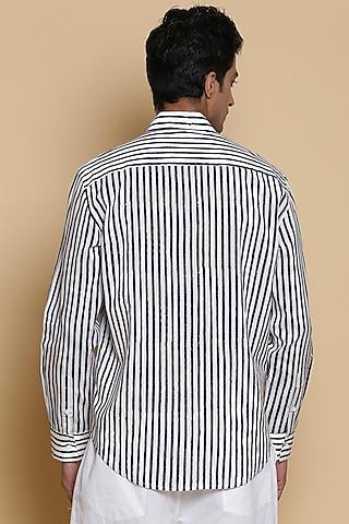 Ivory Block Printed Shirt by Abraham & Thakore Men