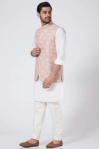 Porcelain Pink Embroidered Bundi Jacket by Aqube by Amber Men