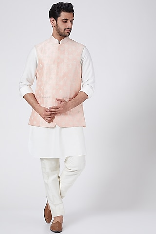 Baby Pink Bundi Jacket With Buttis Work by Aqube by Amber Men