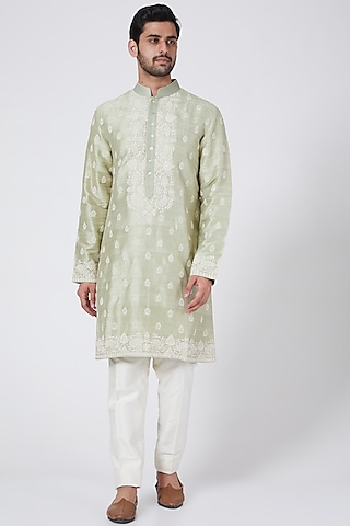 Pistachio Green Kurta Set With Buttis Work by Aqube by Amber Men