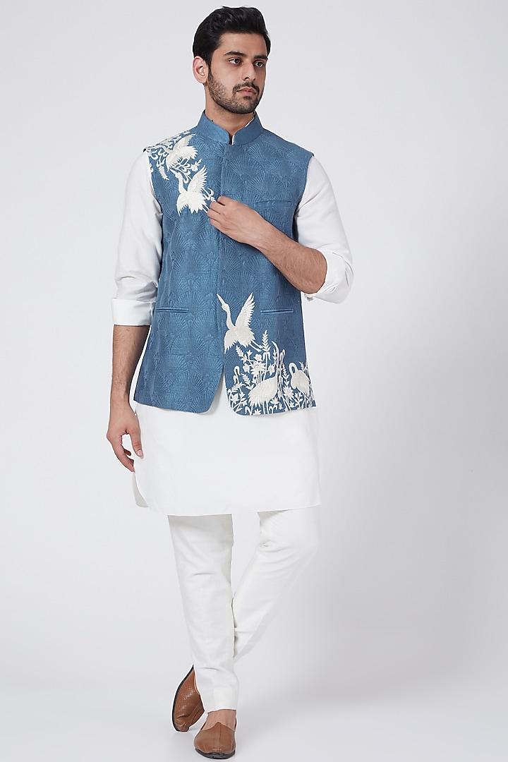 Denim Blue Embroidered Bundi Jacket by Aqube by Amber Men