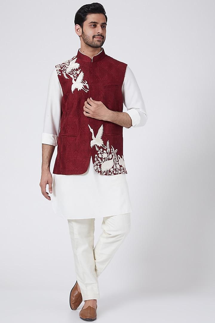 Maroon Embroidered Bundi Jacket Set by Aqube by Amber Men
