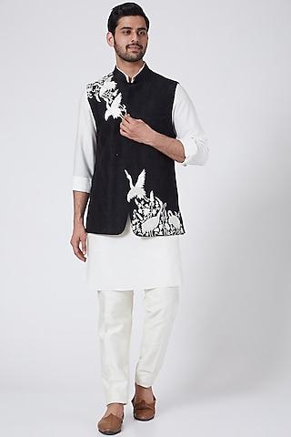 Black Bundi Jacket Set With Embroidery by Aqube by Amber Men