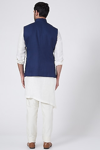 Royal Blue Bundi Jacket Set With Lion Crest by Aqube by Amber Men