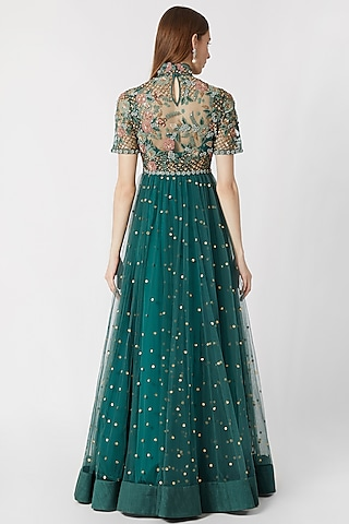 Forest Green Embroidered Anarkali With Dupatta by Abhishek Vermaa