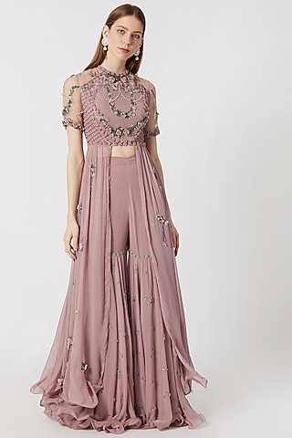 Old Rose Embroidered Top With Sharara Pants by Abhishek Vermaa