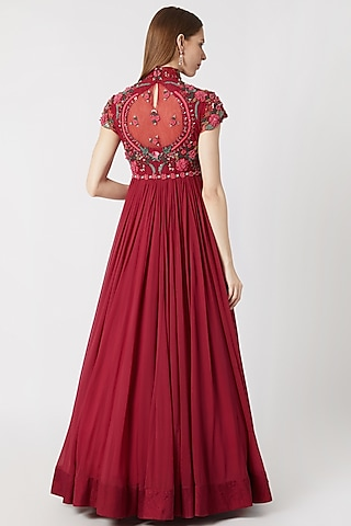 Cranberry Red Embroidered Anarkali With Dupatta by Abhishek Vermaa
