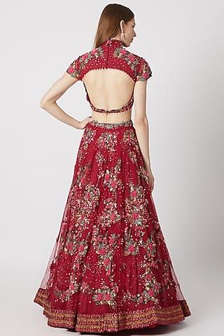 Cranberry Red Embroidered Lehenga Set by Abhishek Vermaa