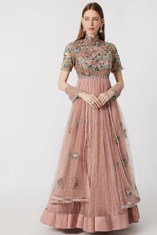 Onion Pink Embroidered Anarkali With Dupatta by Abhishek Vermaa