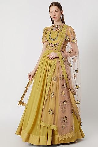 Moss Yellow Embroidered Anarkali With Dupatta by Abhishek Vermaa