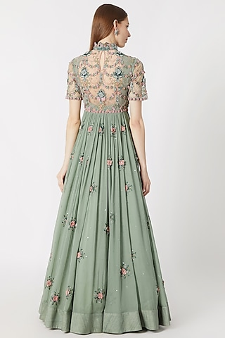 Mint Blue Embroidered Anarkali With Dupatta by Abhishek Vermaa