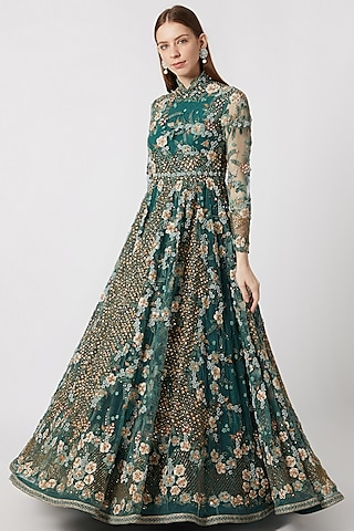 Forest Green Embroidered Anarkali With Can-Can by Abhishek Vermaa