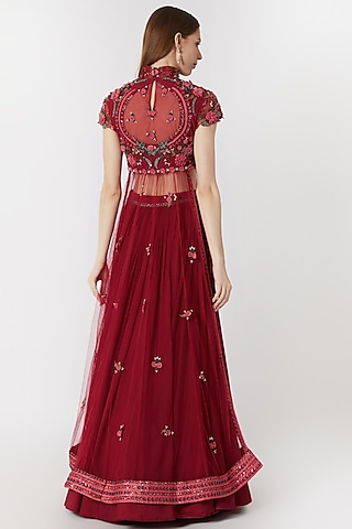 Cranberry Red Embroidered Lehenga With Blouse by Abhishek Vermaa