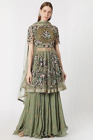 Sage Green Embroidered Sharara Set by Abhishek Vermaa