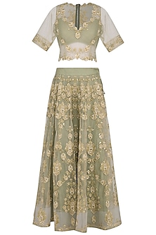 Green Embroidered Lehenga Set by Aashima Behl