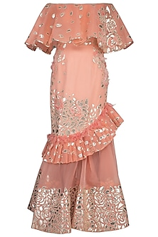 Rose pink Embroidered Frill Gown by Aashima Behl