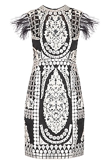 Black Embroidered Cocktail Dress by Aashima Behl