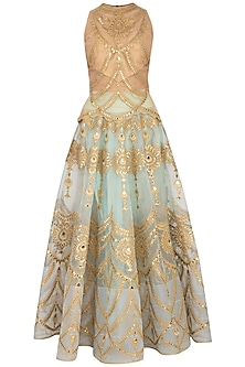 Aqua & Gold Embroidered Blouse With Lehenga Skirt by Aashima Behl