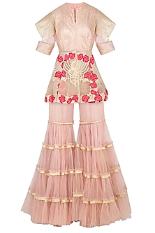 Salmon Pink Embroidered Peplum Jacket With Gharara Pants by Aashima Behl