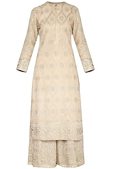 Earthen Beige Embroidered Sharara Set by Aashima Behl