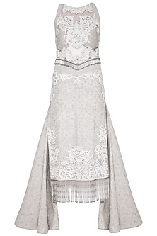Pearl Grey Embroidered Pencil Gown by Aashima Behl