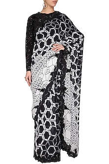 Black & White Embroidered Corset Saree Set by Aashima Behl