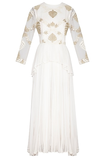 White Embroidered Peplum Gown by Aashima Behl