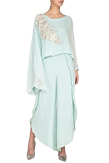 Mint Embroidered Flowy Top With Drape Pants by Aashima Behl